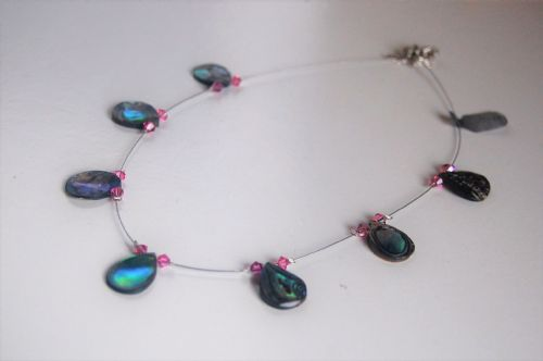 Paua & Swarovski Floating Necklace (Waterdrop) PN201 WAS £28